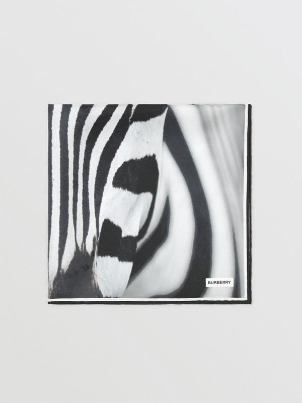 Zebra Print Silk Small Square Scarf in Monochrome | Burberry United Kingdom - cell image 2