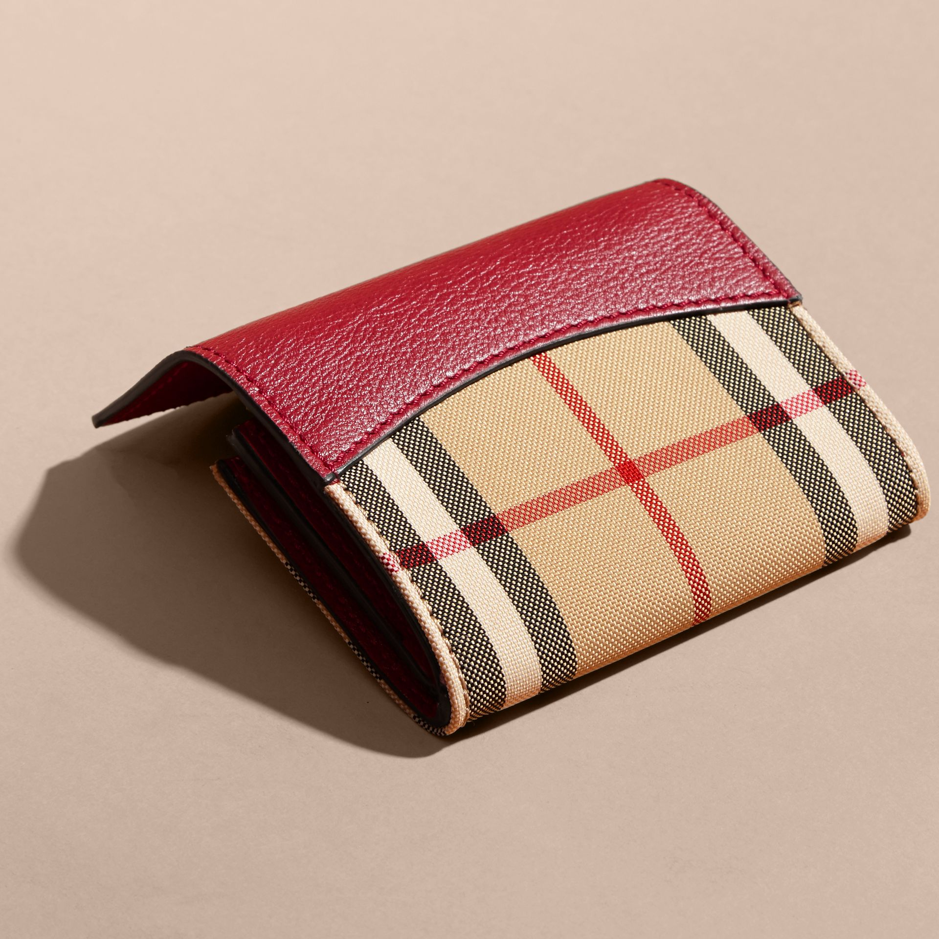 Horseferry Check and Leather Card Case in Parade Red - gallery image 4
