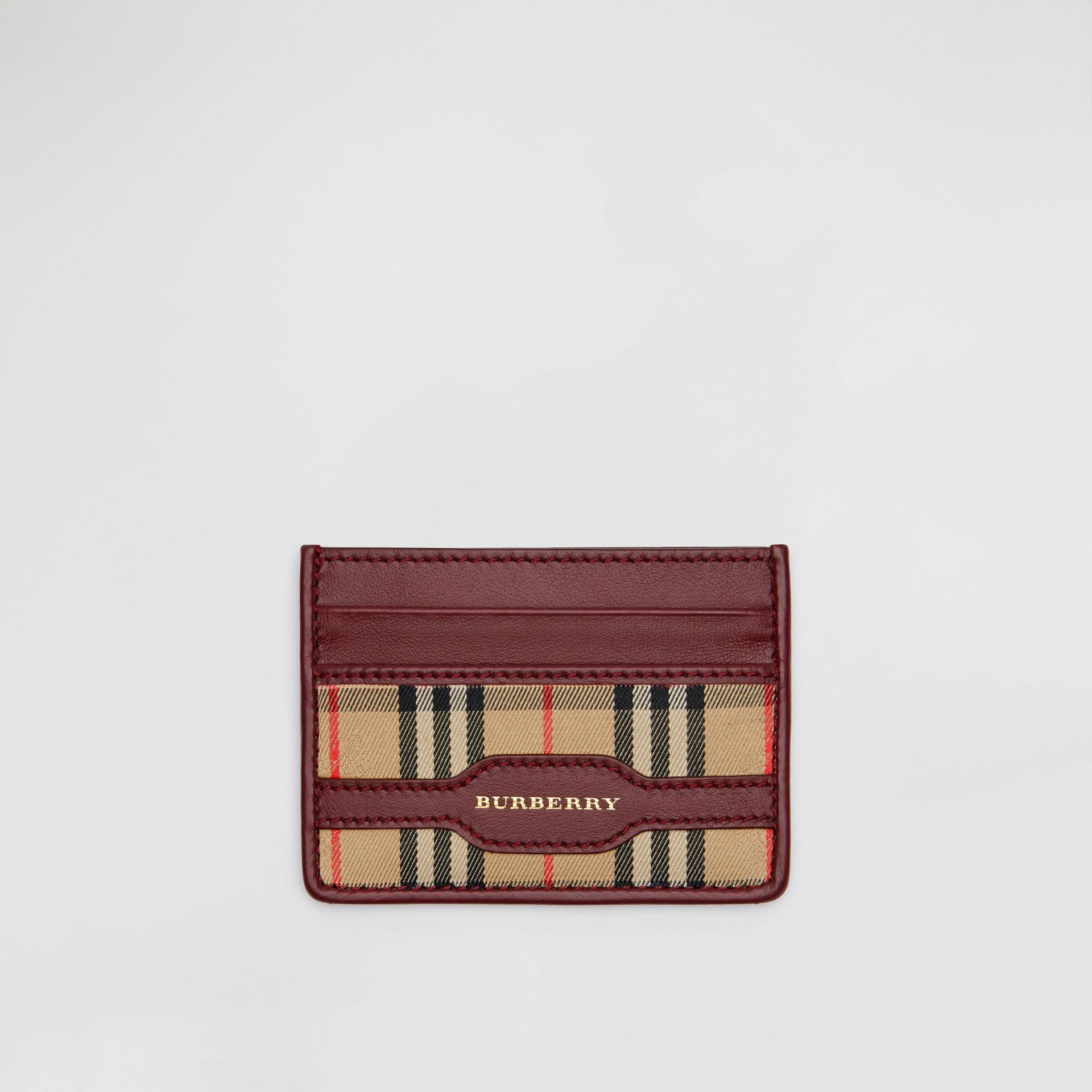1983 Check and Leather Card Case in Antique Red | Burberry - gallery image 0