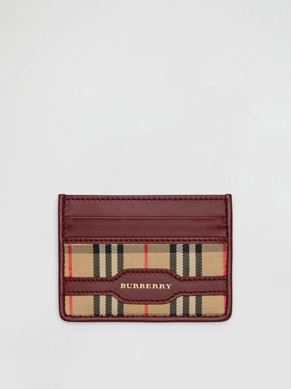 1983 Check and Leather Card Case in Antique Red