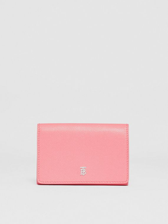 Small Grainy Leather Folding Wallet in Candy Floss/palladio