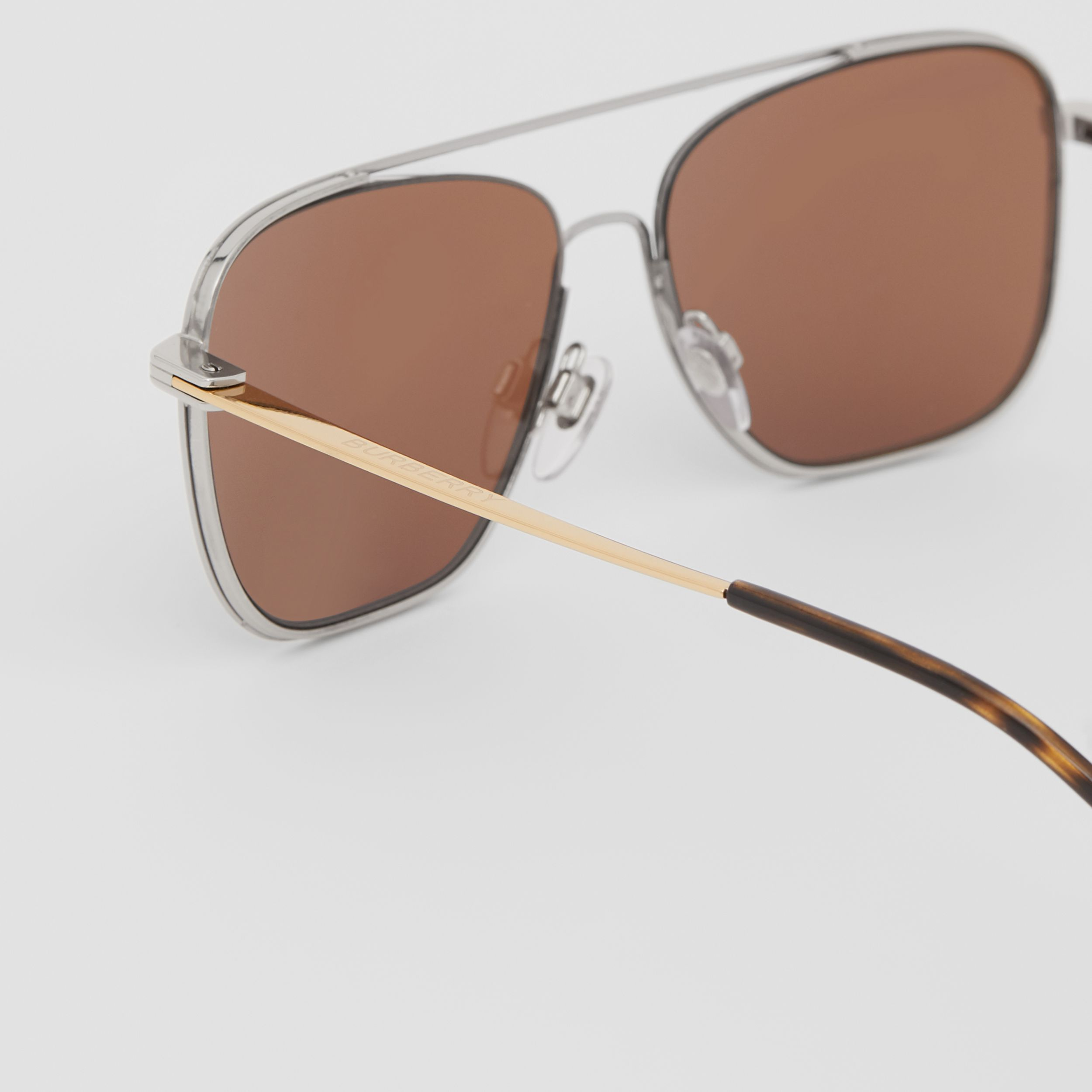 Top Bar Detail Square Frame Sunglasses in Gold - Men | Burberry - 2