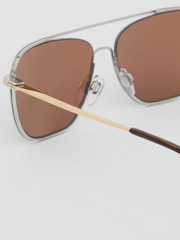 Top Bar Detail Square Frame Sunglasses in Gold | Burberry - cell image 1