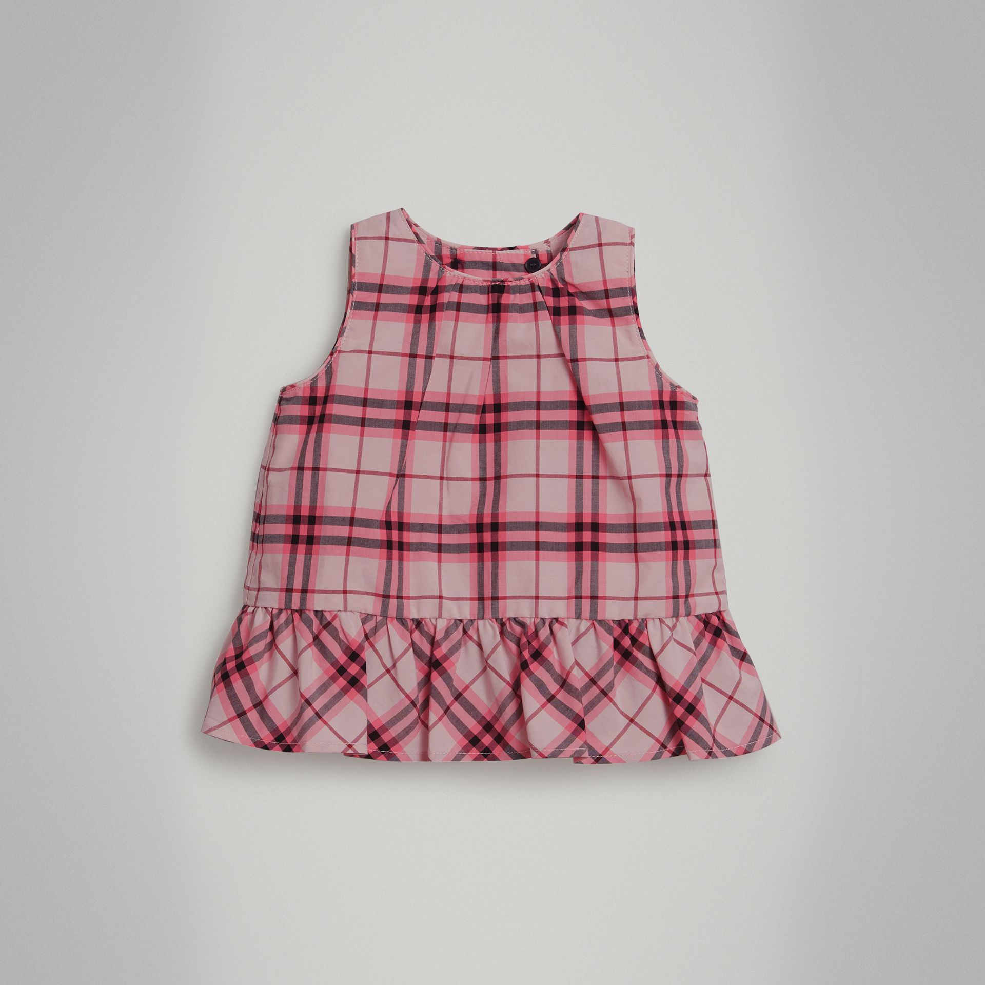 Ruffle Detail Check Cotton Top in Bright Rose - Children | Burberry - gallery image 0