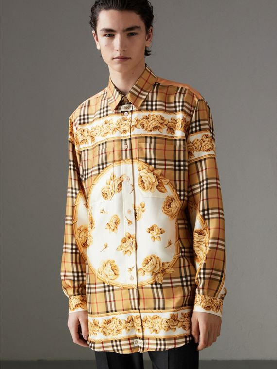 Archive Scarf Print Silk Shirt in Antique Yellow