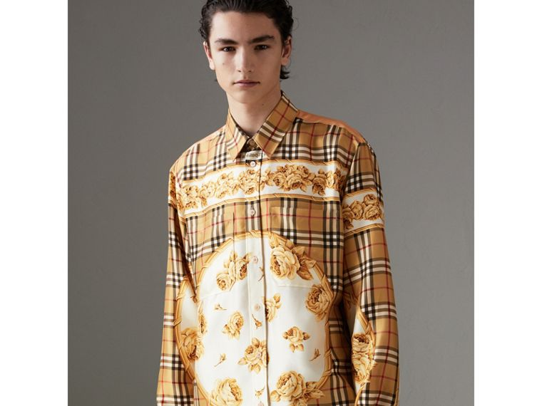 Archive Scarf Print Silk Shirt in Antique Yellow | Burberry - cell image 4
