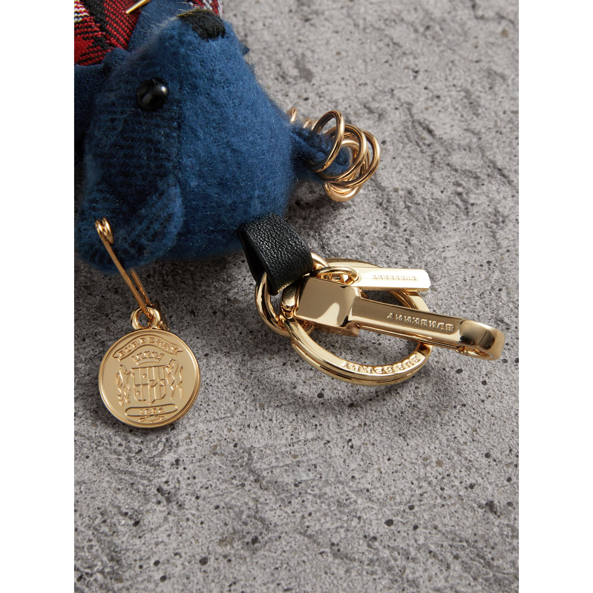 Thomas Bear Charm with Kilt Pin in Cadet Blue | Burberry - gallery image 1