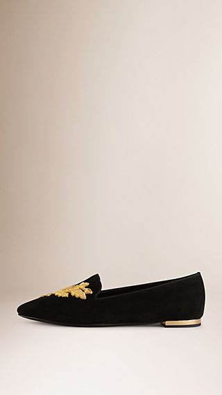 Leaf Detail Suede Loafers