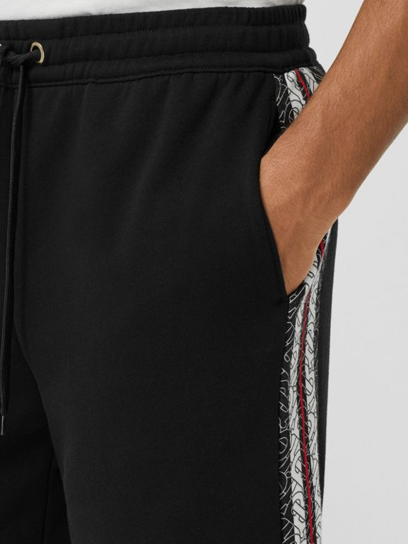 Monogram Stripe Print Cotton Shorts in Black - Men | Burberry - cell image 1