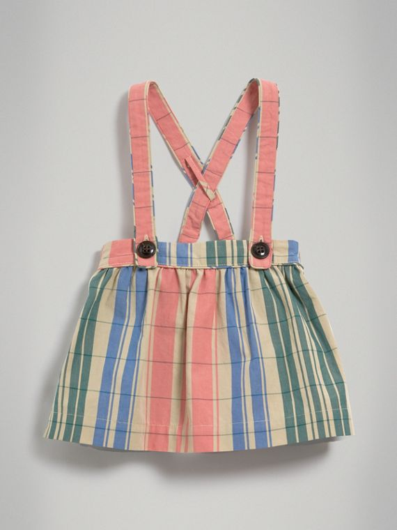 Check Gathered Cotton Pinafore Skirt in Bright Coral Pink