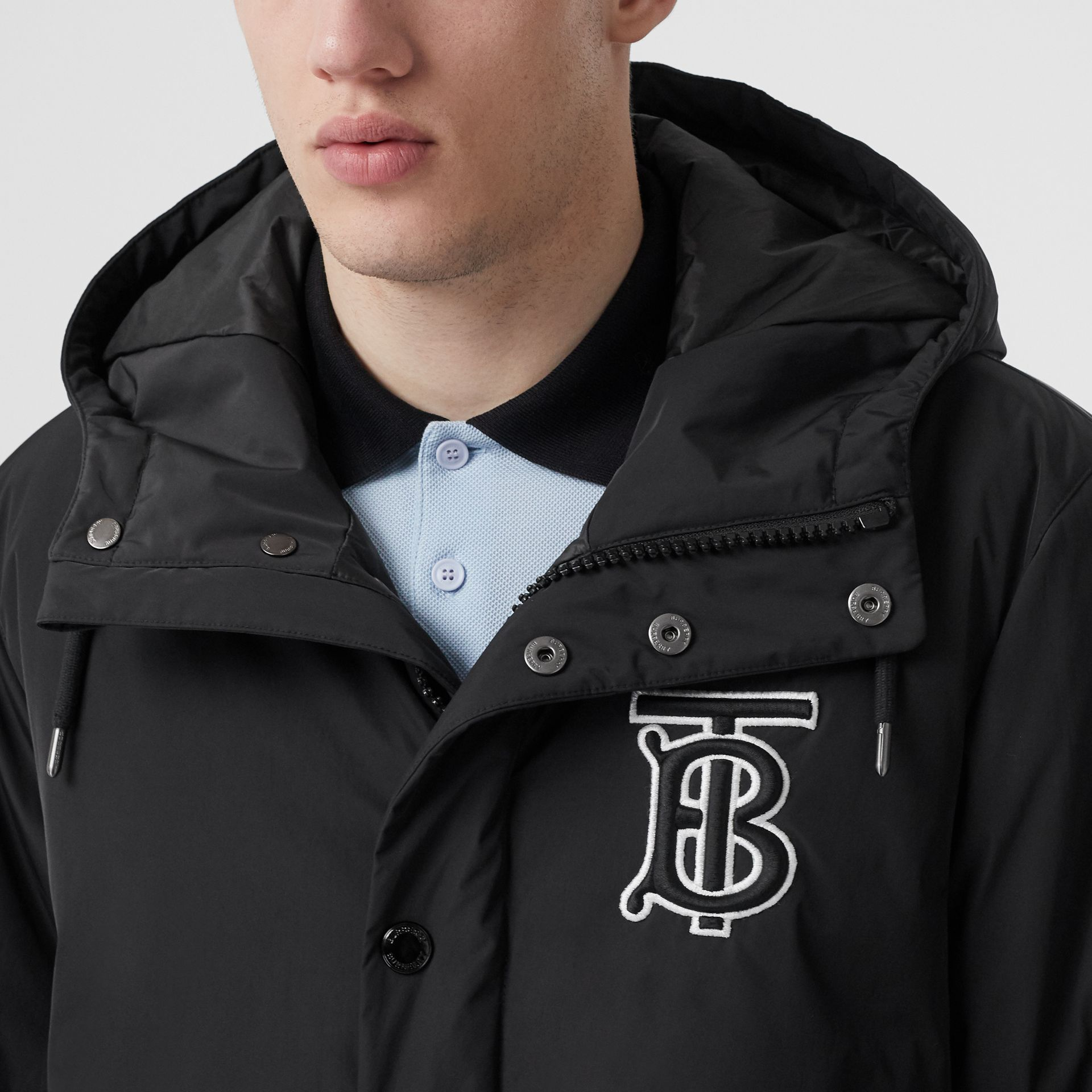 Monogram Motif Nylon Twill Hooded Coat in Black - Men | Burberry Canada - gallery image 1