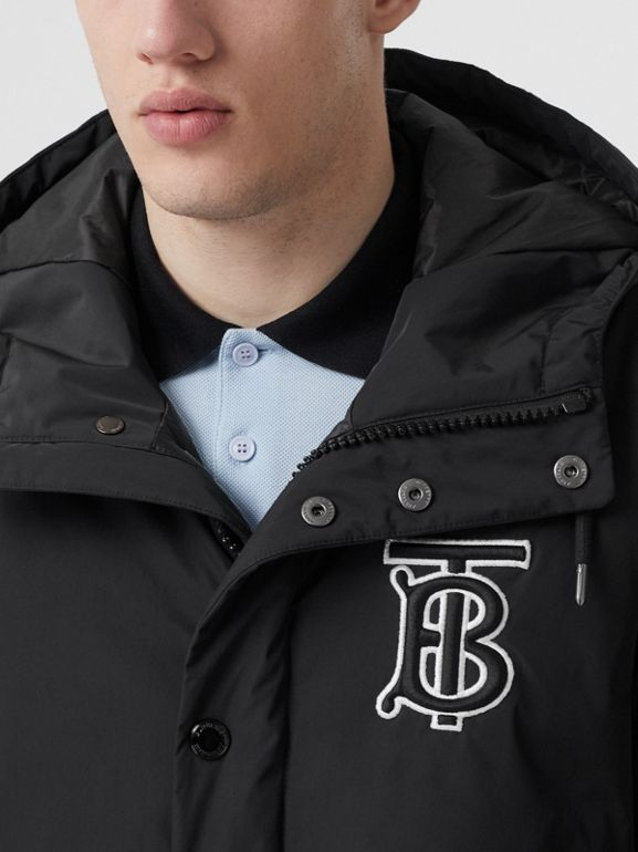 Monogram Motif Nylon Twill Hooded Coat in Black - Men | Burberry - cell image 1