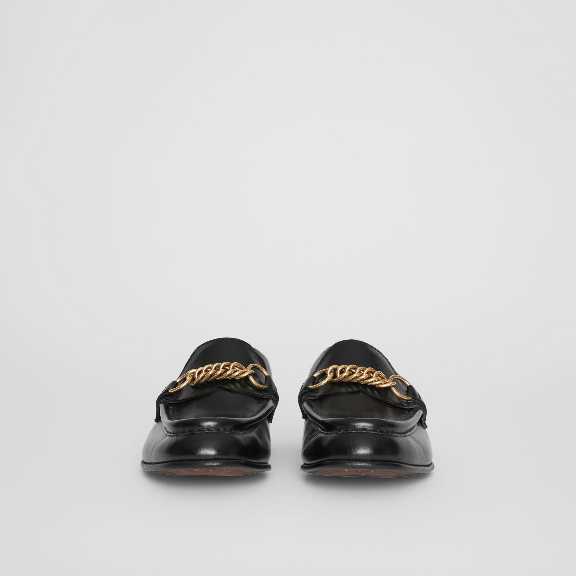 The Leather Link Loafer in Black - Women | Burberry - gallery image 3