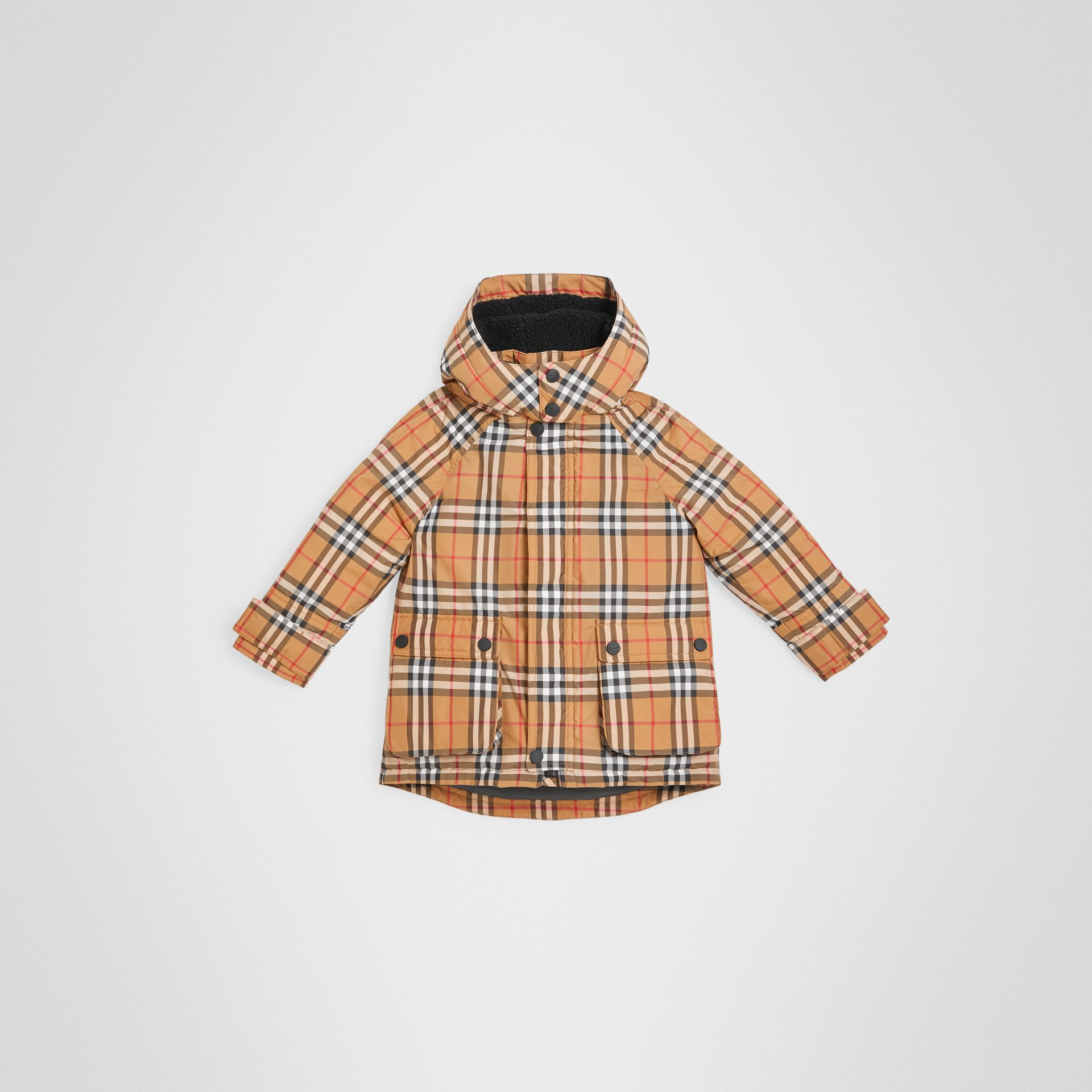 Vintage Check Down-filled Hooded Puffer Jacket in Antique Yellow | Burberry Australia - gallery image 0