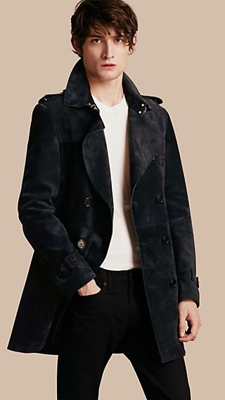 Trench coat in pelle scamosciata