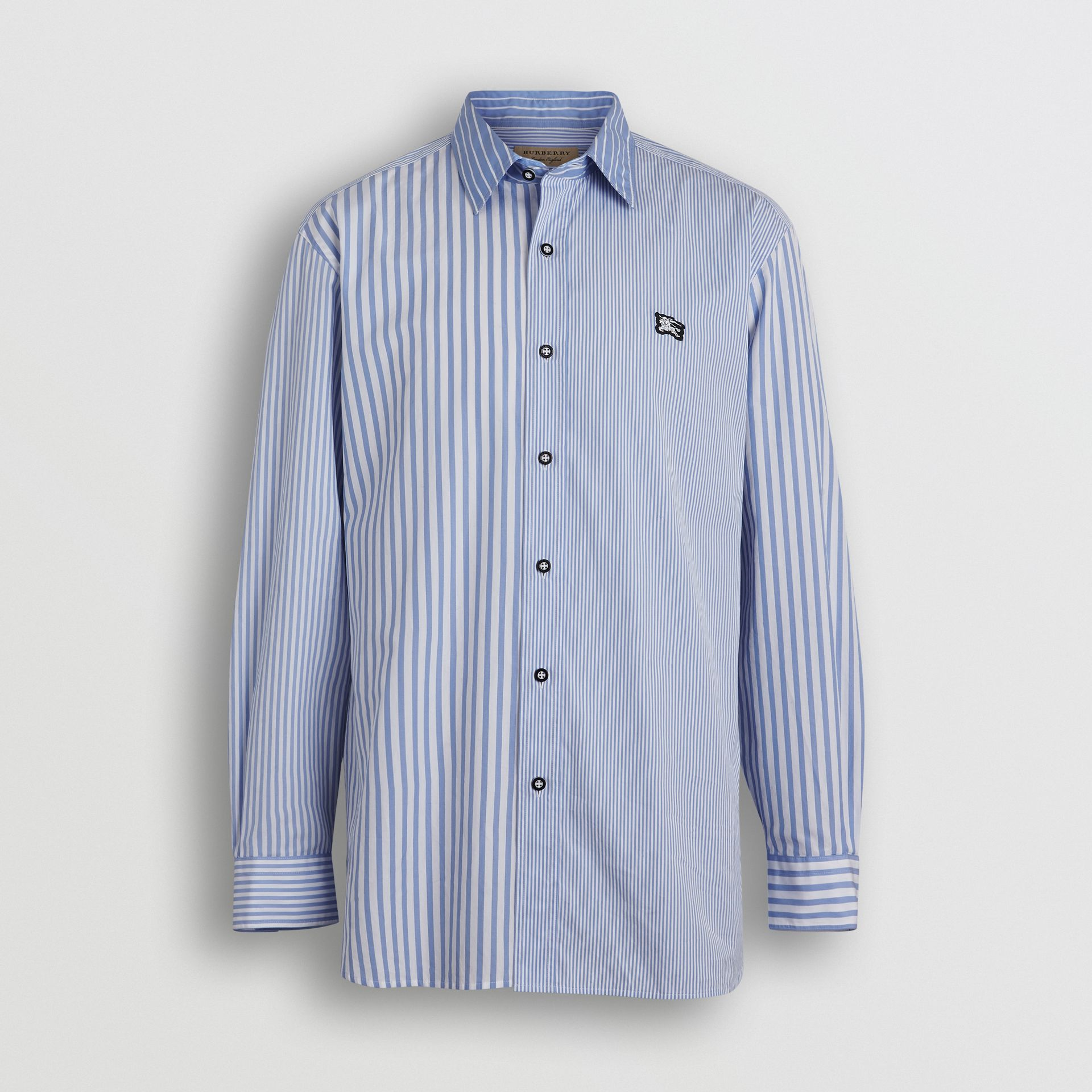 Contrast Stripe Cotton Poplin Shirt in Chalk Blue - Men | Burberry - gallery image 3