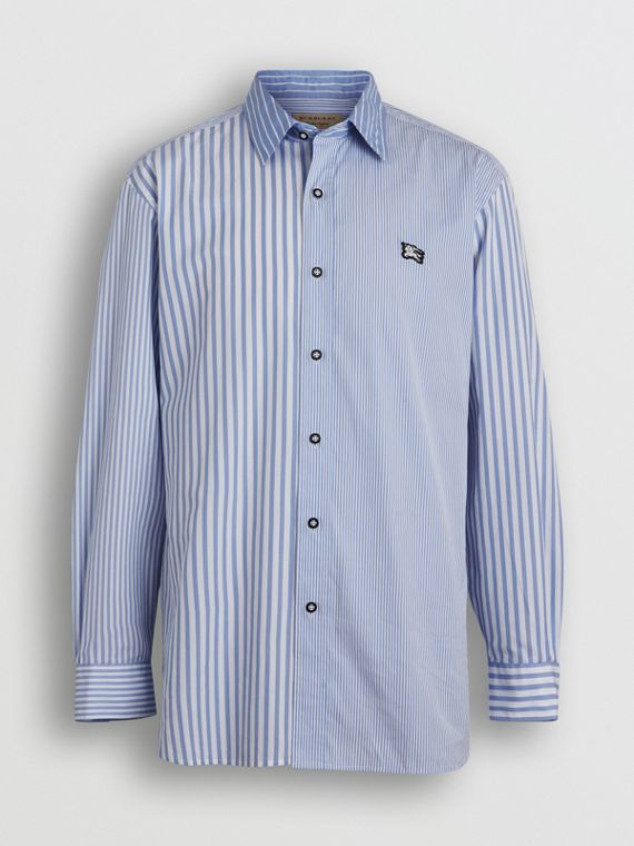 Contrast Stripe Cotton Poplin Shirt in Chalk Blue