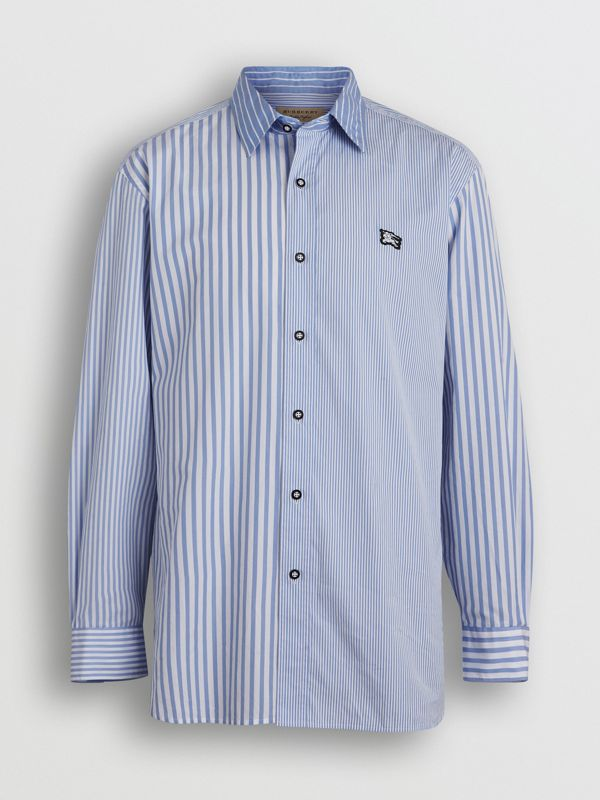 Contrast Stripe Cotton Poplin Shirt in Chalk Blue - Men | Burberry United Kingdom - cell image 3