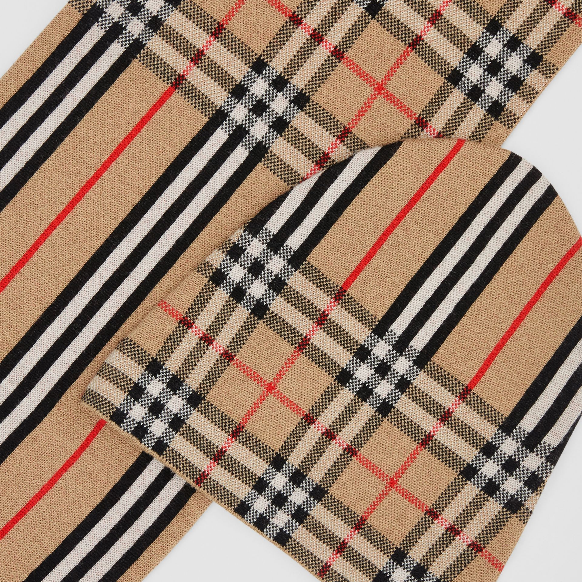 Vintage Check and Icon Stripe Wool Two-piece Gift Set in Archive Beige - Children | Burberry - gallery image 1