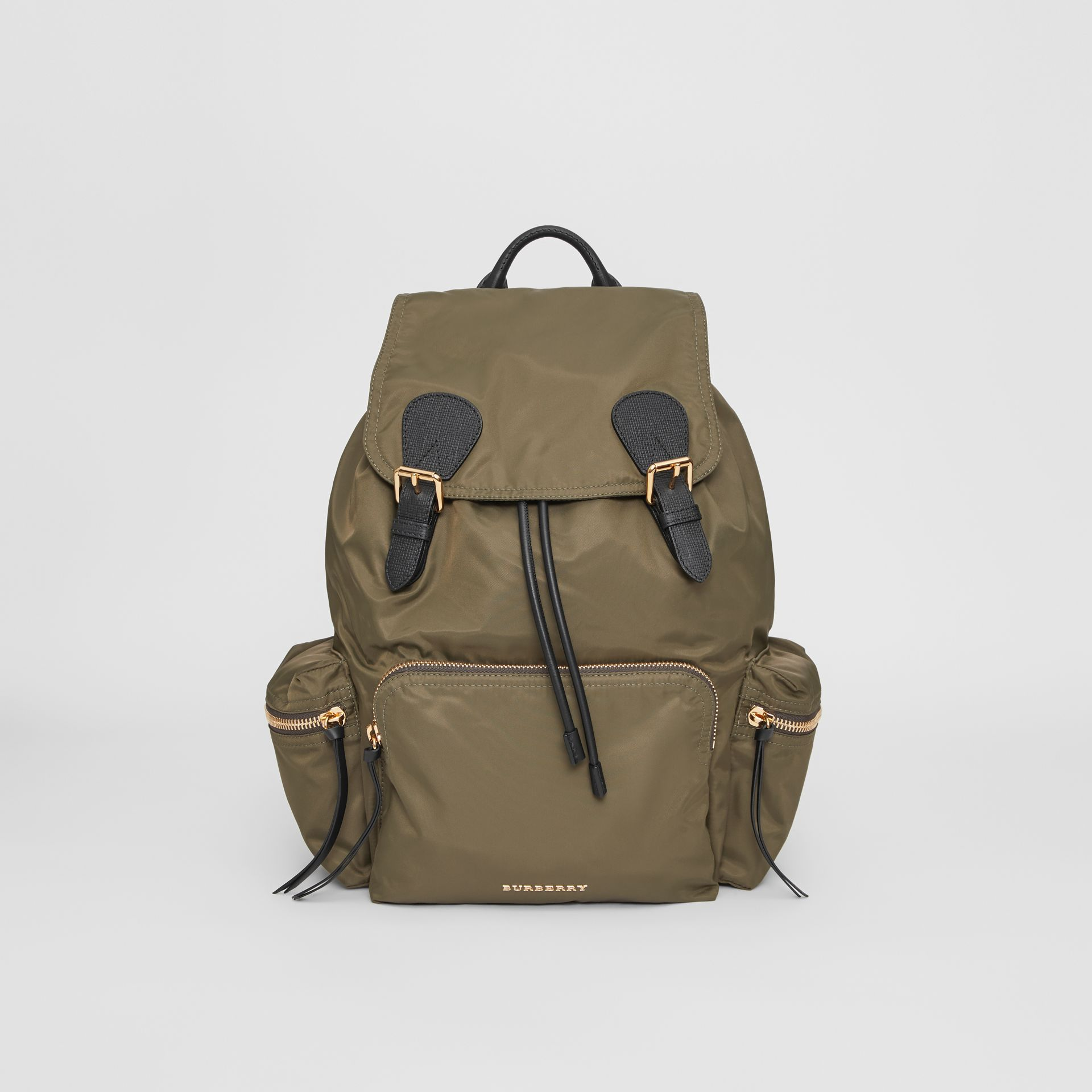 The Large Rucksack in Technical Nylon and Leather in Canvas Green - Women | Burberry - gallery image 0