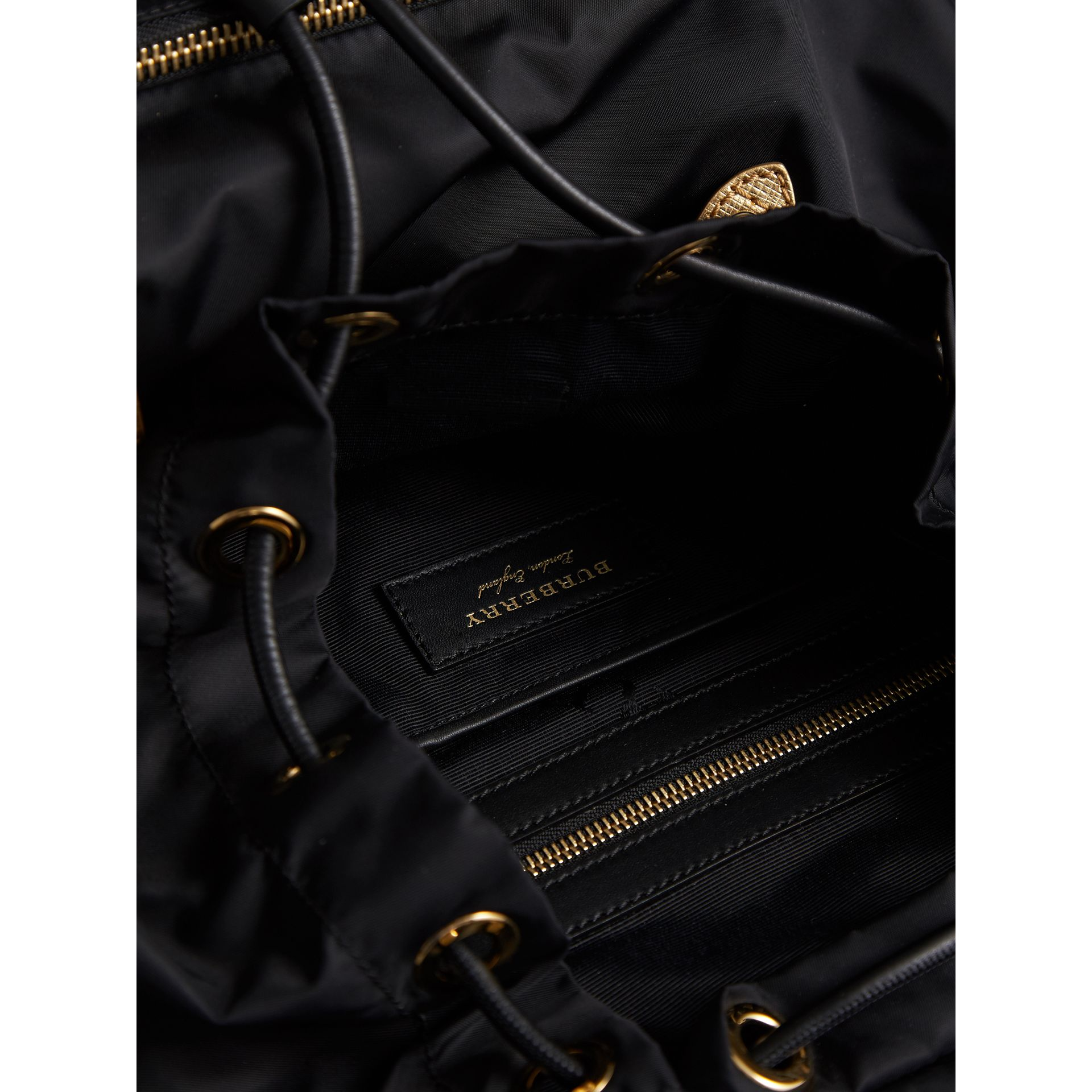 The Large Rucksack in Technical Nylon and Leather in Black/gold - Women | Burberry - gallery image 5