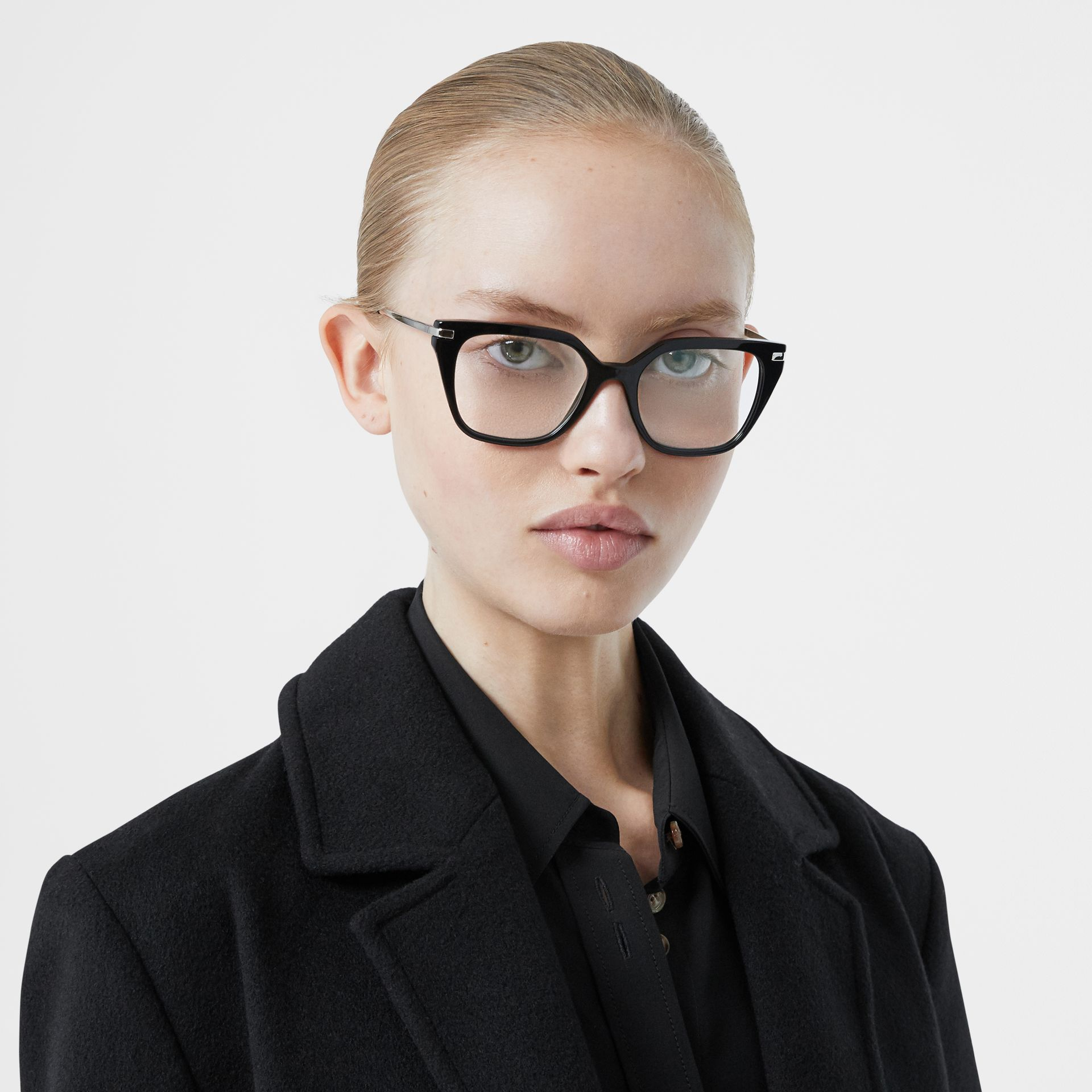 Monogram Motif Square Optical Frames in Black - Women | Burberry Canada - gallery image 2