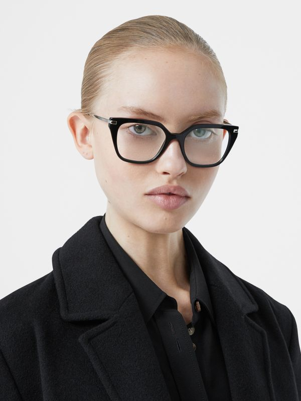 Monogram Motif Square Optical Frames in Black - Women | Burberry Canada - cell image 2