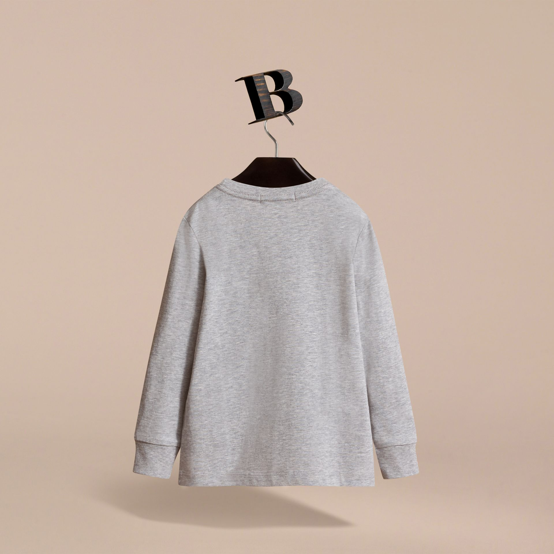 Long-sleeve Check Pocket Cotton T-shirt in Grey Melange - Boy | Burberry - gallery image 4