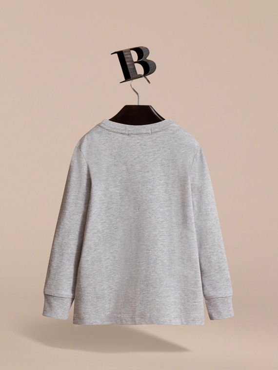 Long-sleeve Check Pocket Cotton T-shirt in Grey Melange - Boy | Burberry - cell image 3