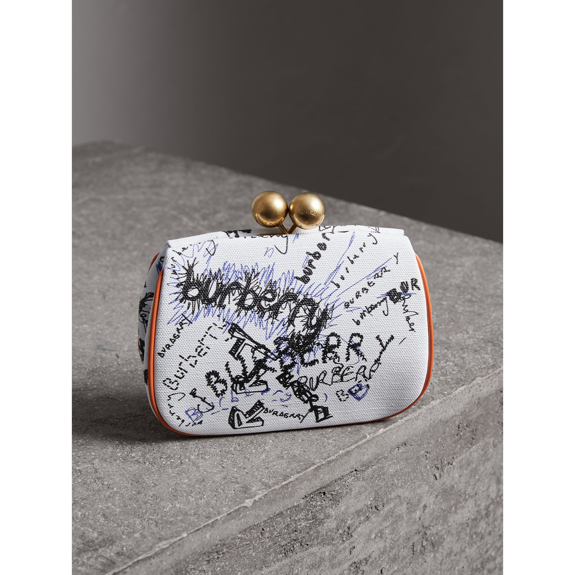 Small Doodle Print Metal Frame Clutch Bag in White/orange Saffron - Women | Burberry - gallery image 2