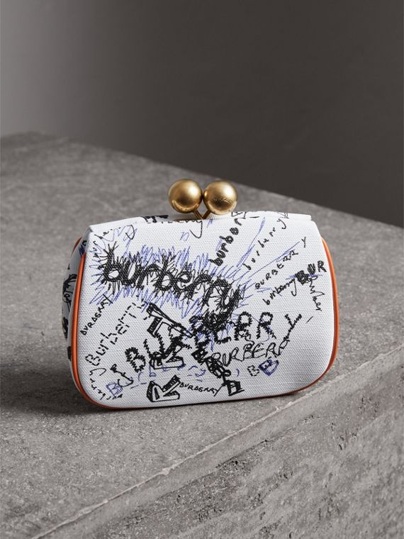 Small Doodle Print Metal Frame Clutch Bag in White/orange Saffron - Women | Burberry United States - cell image 2