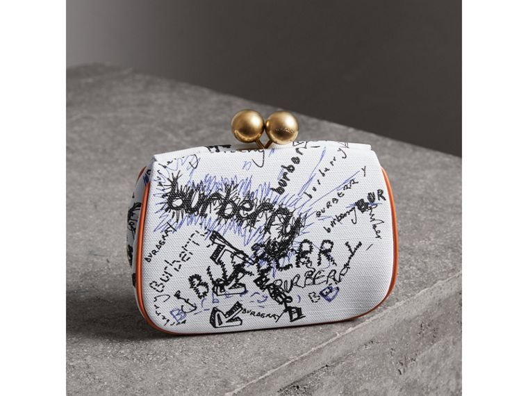 Small Doodle Print Check Frame Bag in White/orange Saffron - Women | Burberry - cell image 4