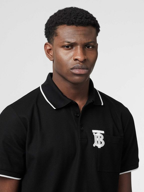 Monogram Motif Tipped Cotton Piqué Polo Shirt in Black - Men | Burberry United Kingdom - cell image 1