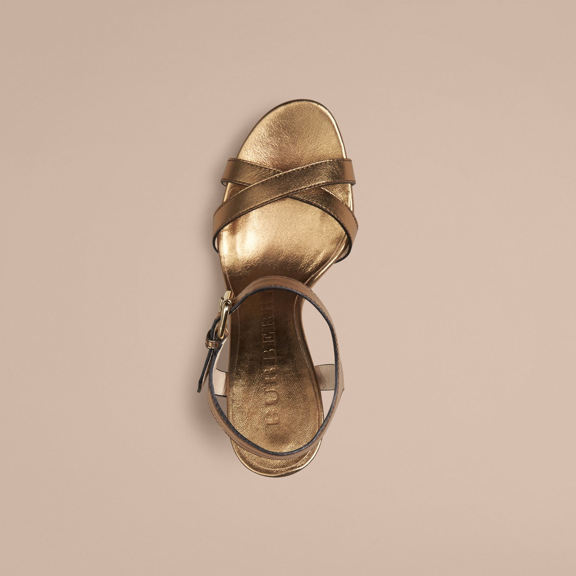 Heritage gold House Check and Metallic Leather Wedge Sandals - gallery image 2