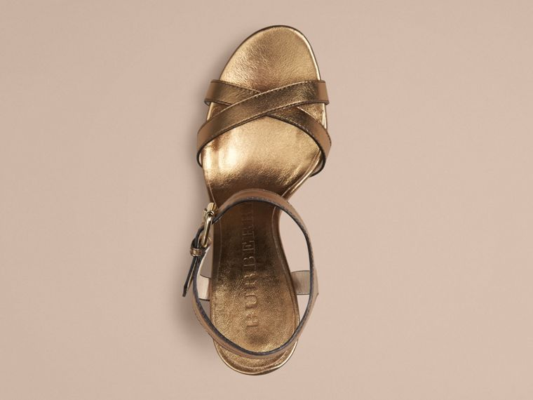 Heritage gold House Check and Metallic Leather Wedge Sandals - cell image 1