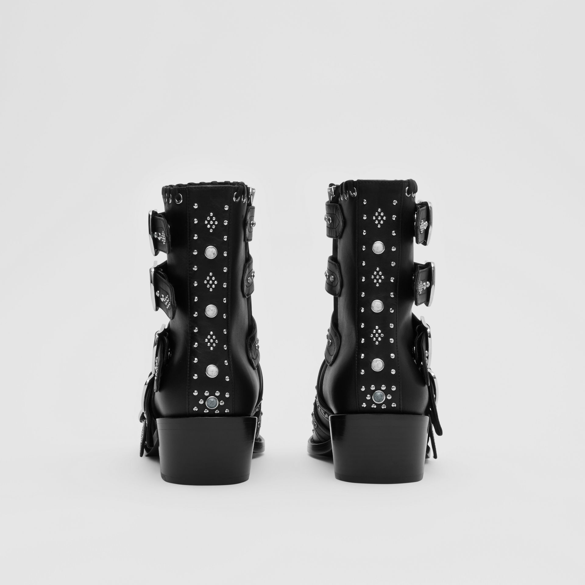 Buckled Embellished Leather Peep-toe Ankle Boots in Black - Women | Burberry - gallery image 3