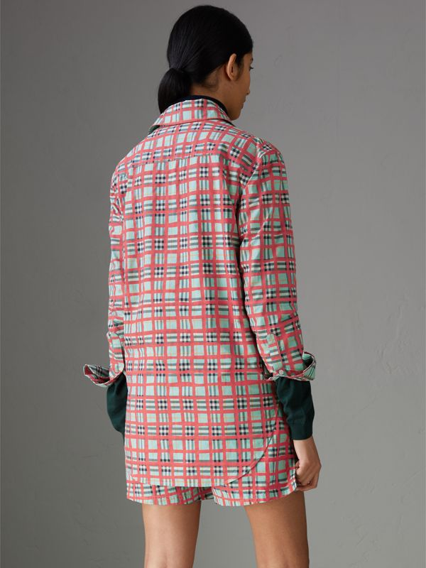 Painted Check Cotton Shirt in Bright Aqua - Women | Burberry - cell image 2