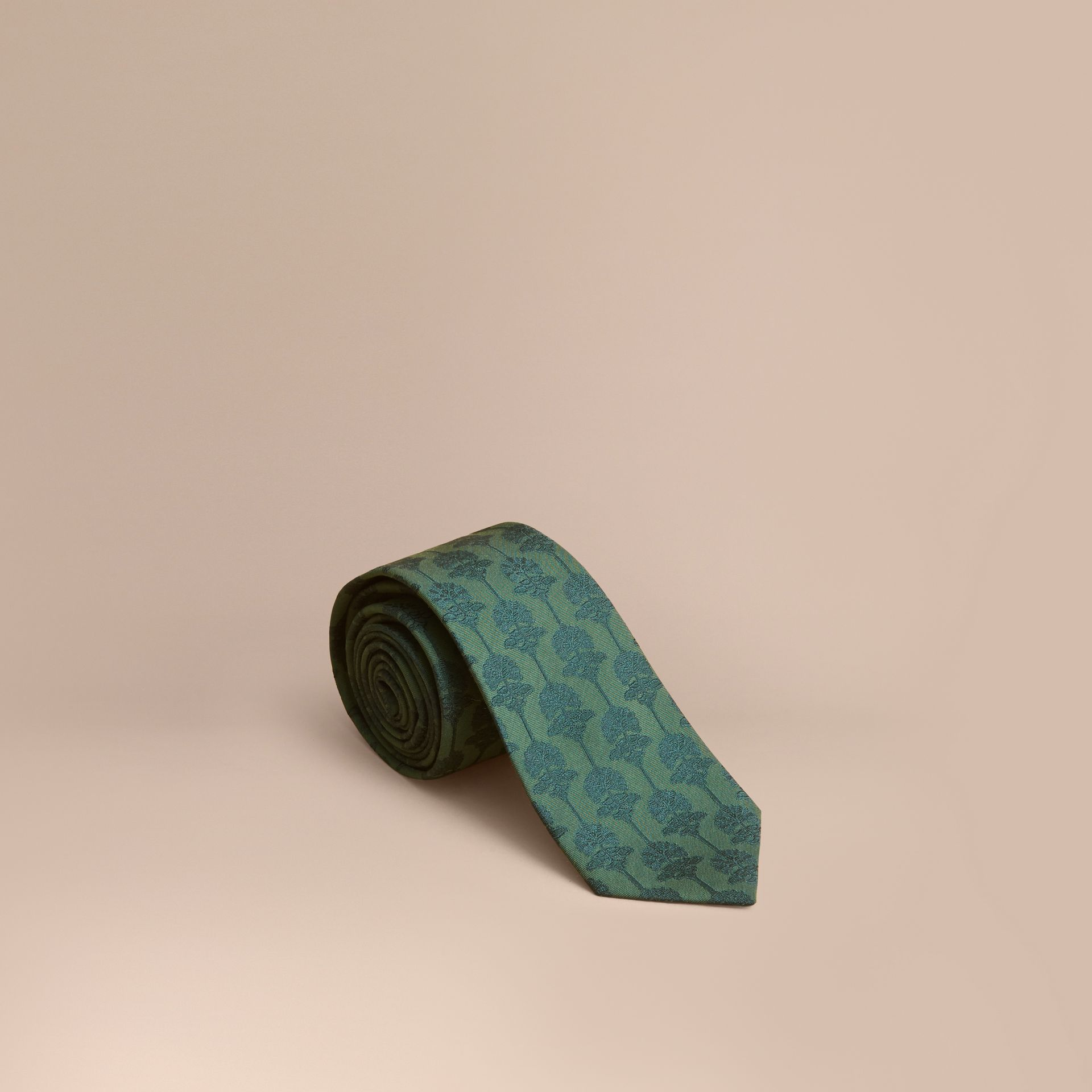 Slim Cut Floral Jacquard Silk Cotton Tie in Pine Green - Men | Burberry Singapore - gallery image 1