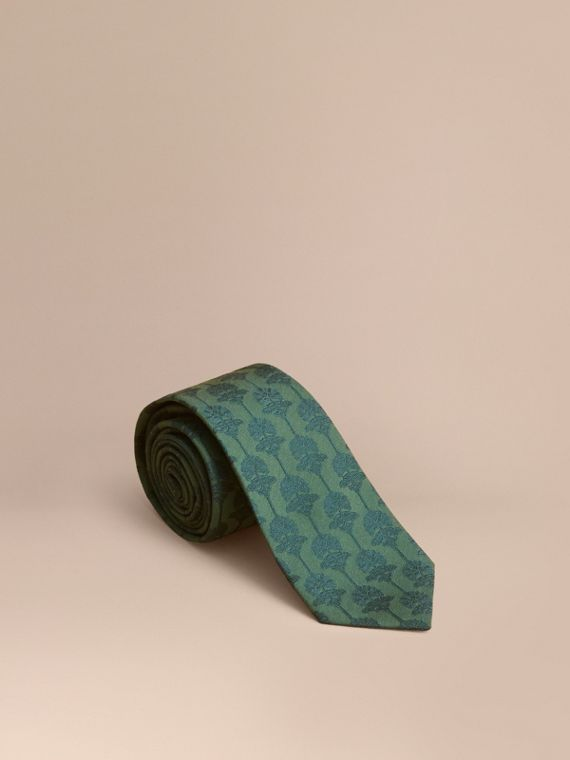 Slim Cut Floral Jacquard Silk Cotton Tie Pine Green