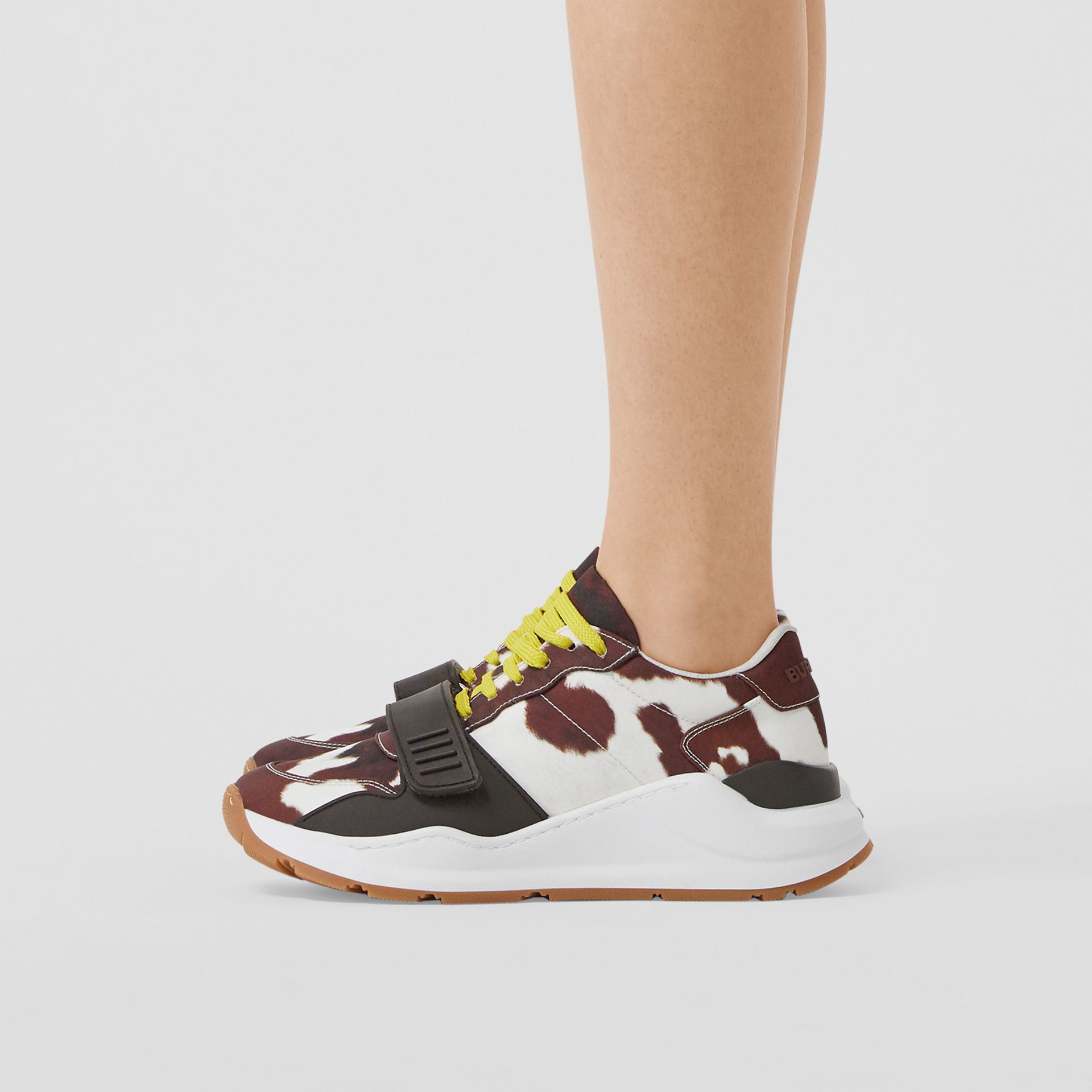 Cow Print Nylon Sneakers in Brown - Women | Burberry United States - gallery image 2