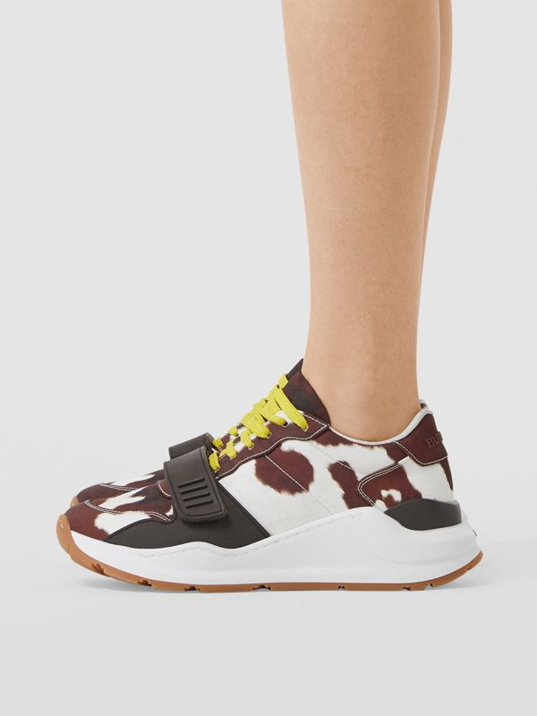 Cow Print Nylon Sneakers in Brown - Women | Burberry Hong Kong S.A.R - cell image 2