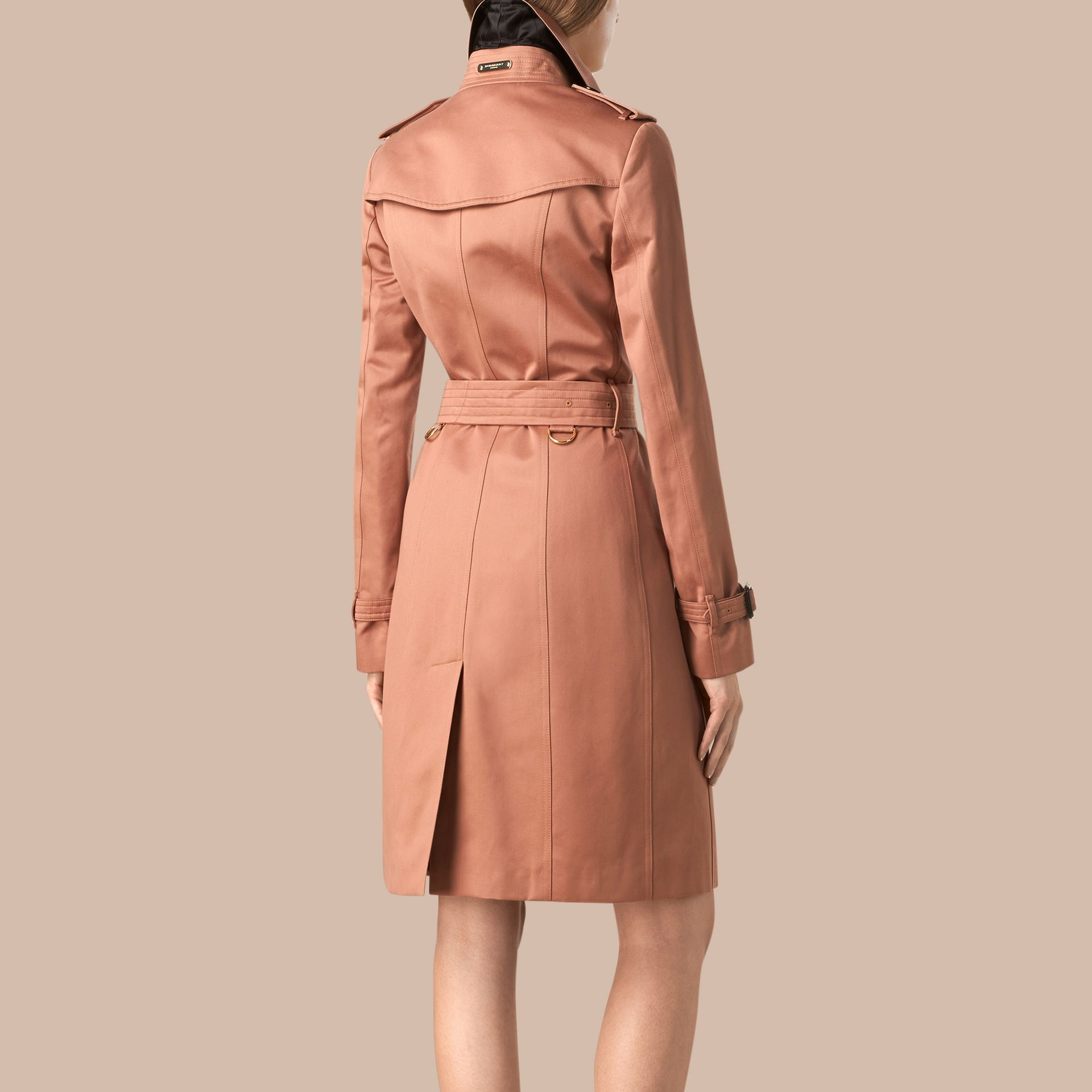 Antique garnet Cotton Sateen Trench Coat - gallery image 2