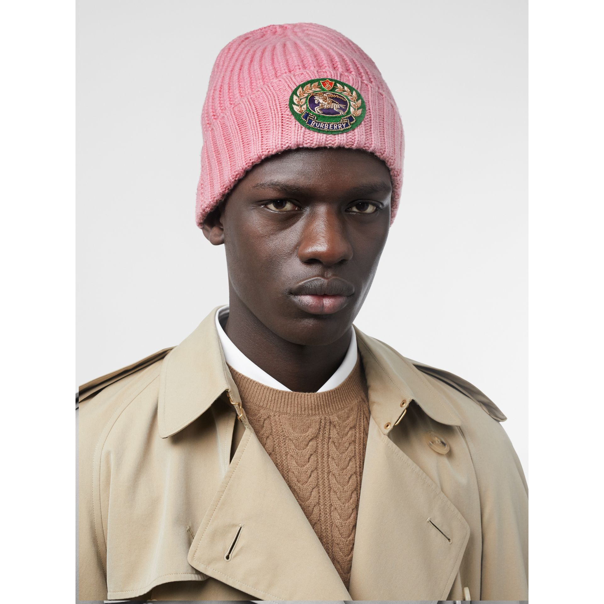 Embroidered Crest Rib Knit Wool Cashmere Beanie in Rose Pink | Burberry United States - gallery image 3
