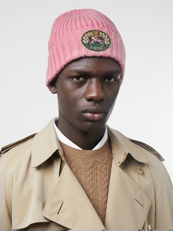 Embroidered Crest Rib Knit Wool Cashmere Beanie in Rose Pink | Burberry United Kingdom - cell image 3