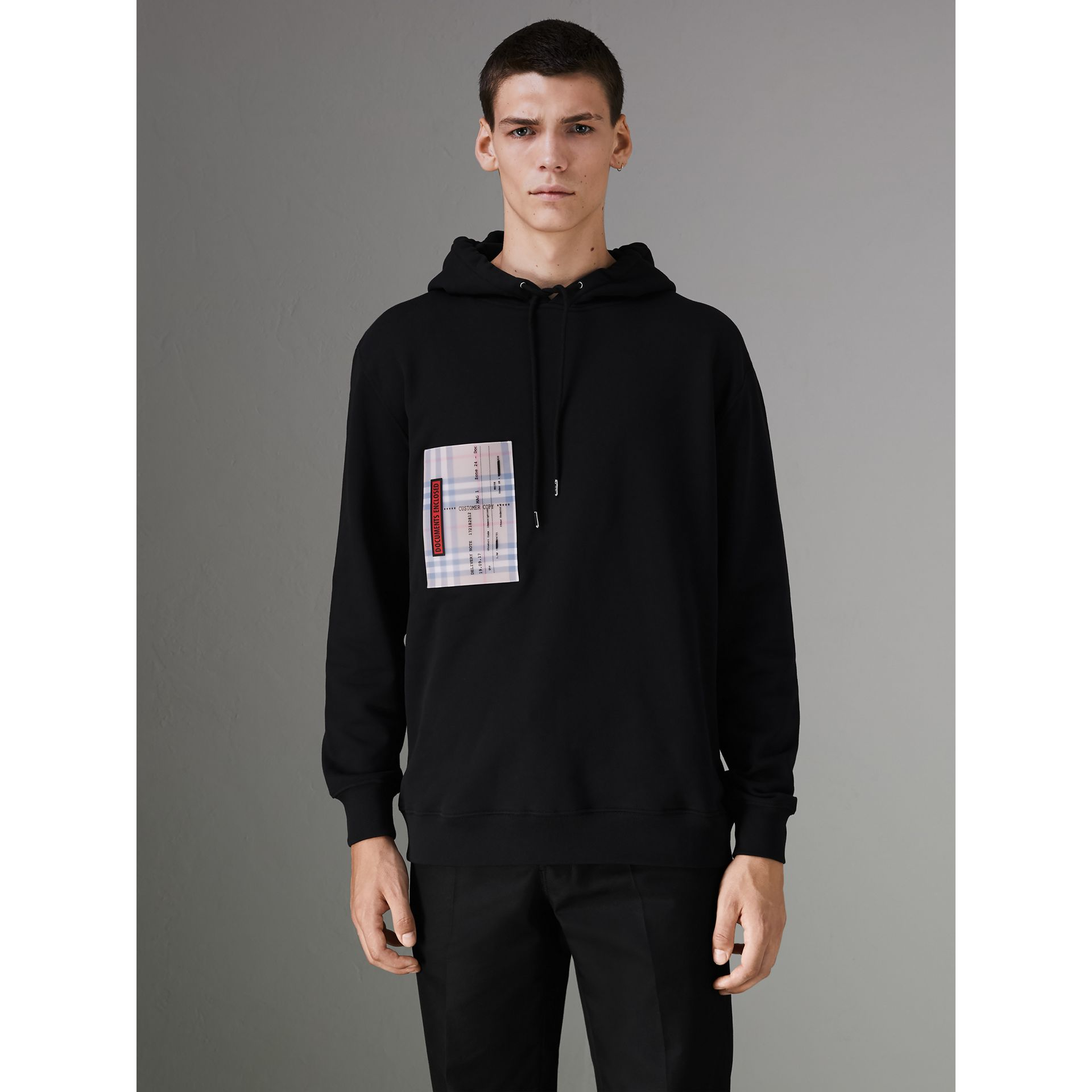 Ticket Print Pocket Cotton Jersey Hoodie in Black - Men | Burberry - gallery image 4