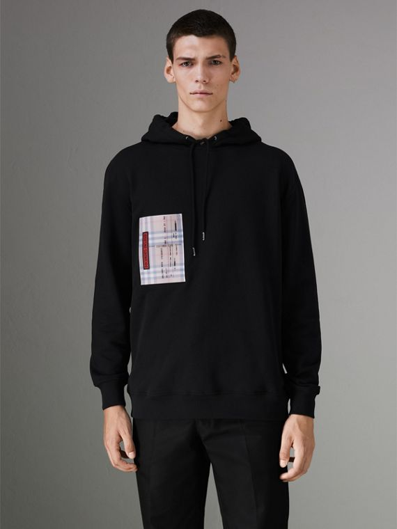 Ticket Print Pocket Cotton Jersey Hoodie in Black