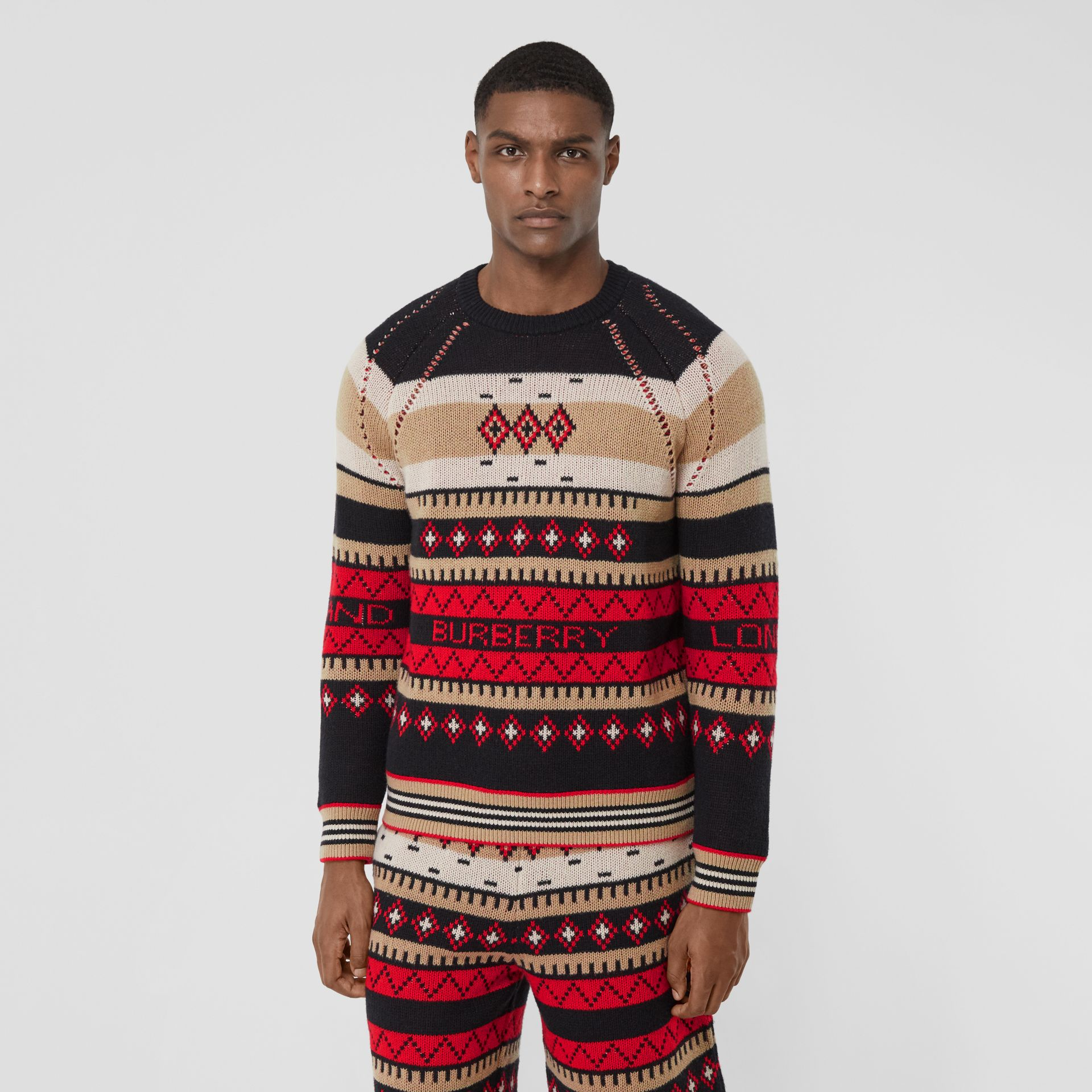 Icon Stripe Detail Fair Isle Cashmere Sweater in Black - Men | Burberry - gallery image 0