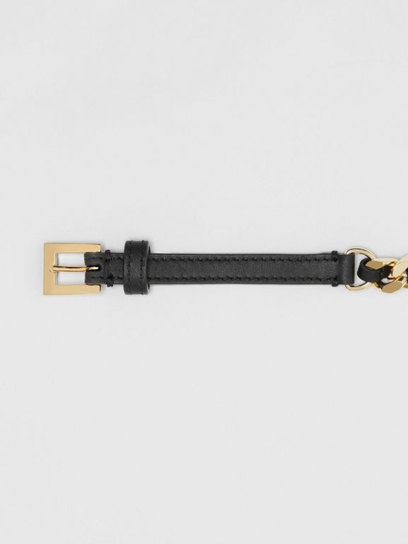 D-ring Detail Leather and Chain Belt in Black - Women | Burberry - cell image 1