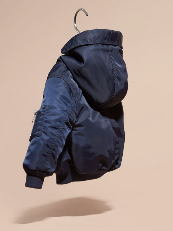 Navy Hooded Technical Twill Bomber Jacket - cell image 3