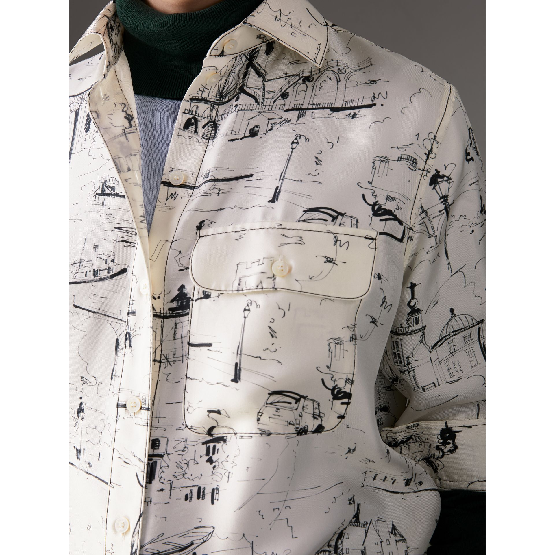 Landmark Print Silk Longline Shirt in Off White - Women | Burberry Canada - gallery image 1